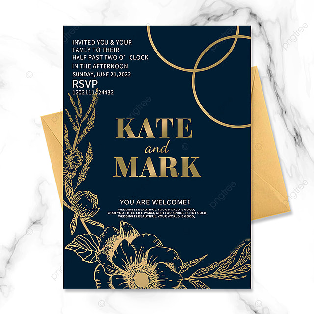 dark blue floral vintage border wedding invitation