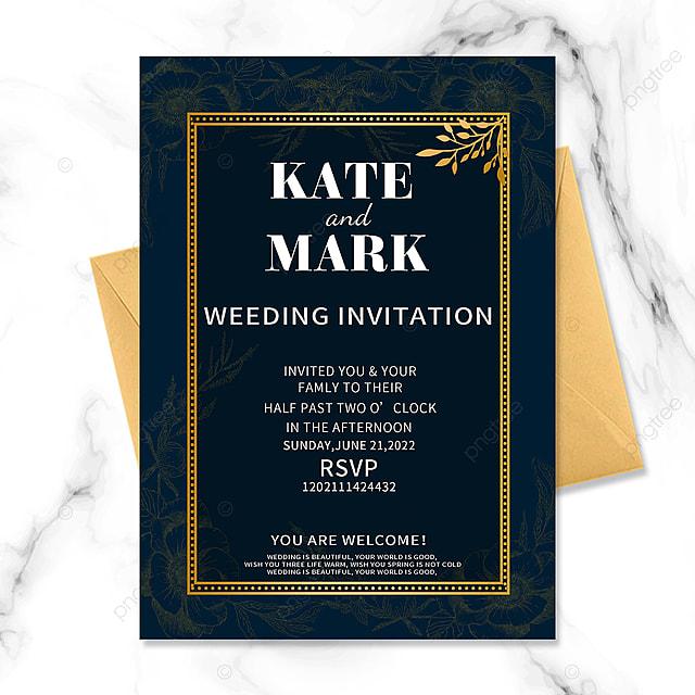 dark blue golden vintage floral border wedding invitation
