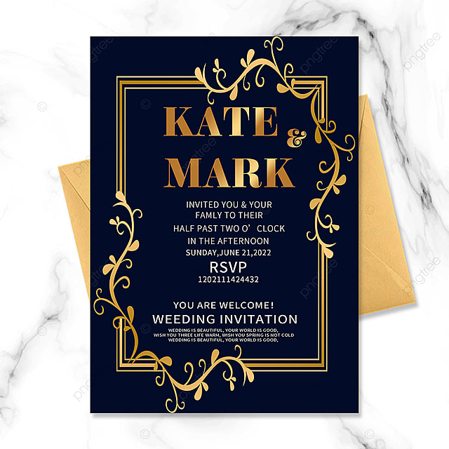 dark blue wedding invitation golden floral vintage border