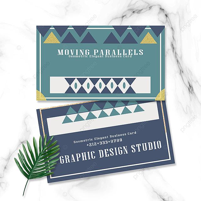 elegant geometric business card green blue gold retro triangle geometry