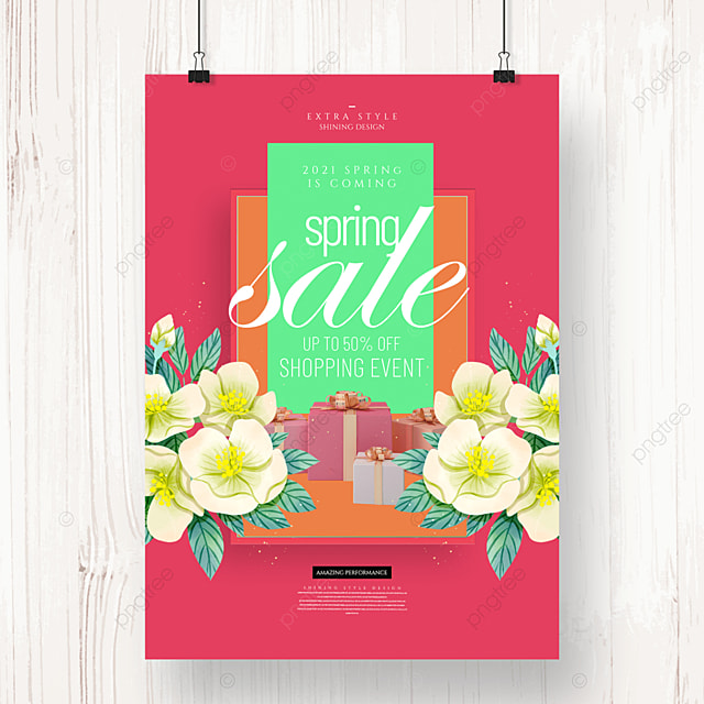 fashion simple cartoon spring flower promotion poster