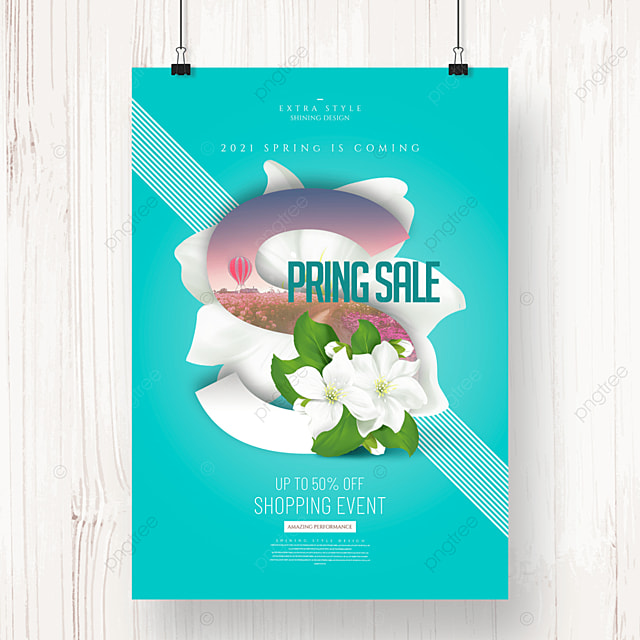fashion simple flower spring promotion poster
