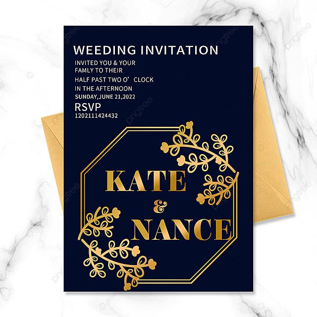 golden vintage floral border wedding invitation