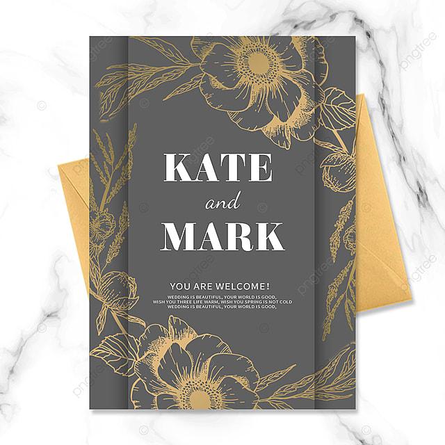 grey vintage golden floral wedding invitation