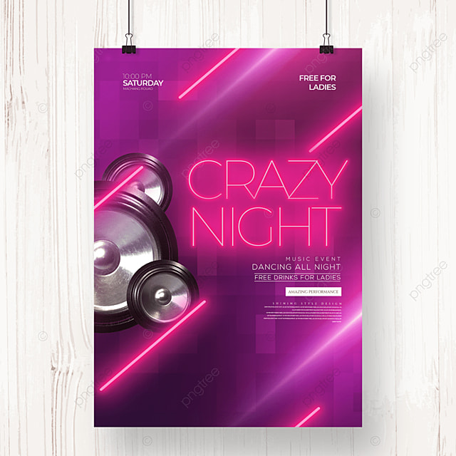 neon line color gradient electronic music party poster