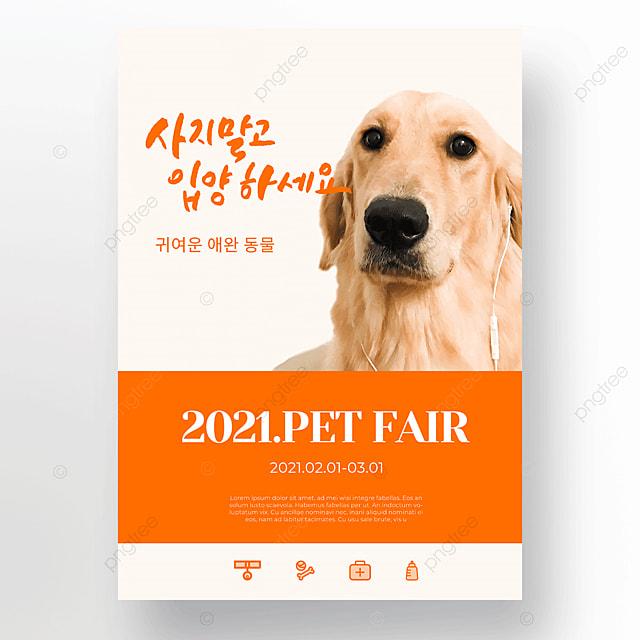 orange cute pet care cat and dog shop poster template