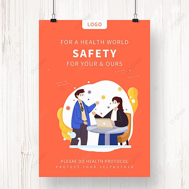 orange new crown epidemic anti epidemic propaganda poster