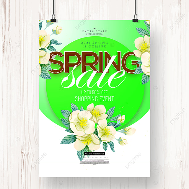 personality fashion flower cartoon spring promotion poster
