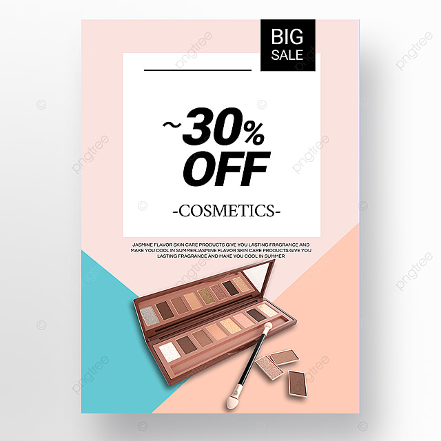 pink simple beauty makeup promotion poster template