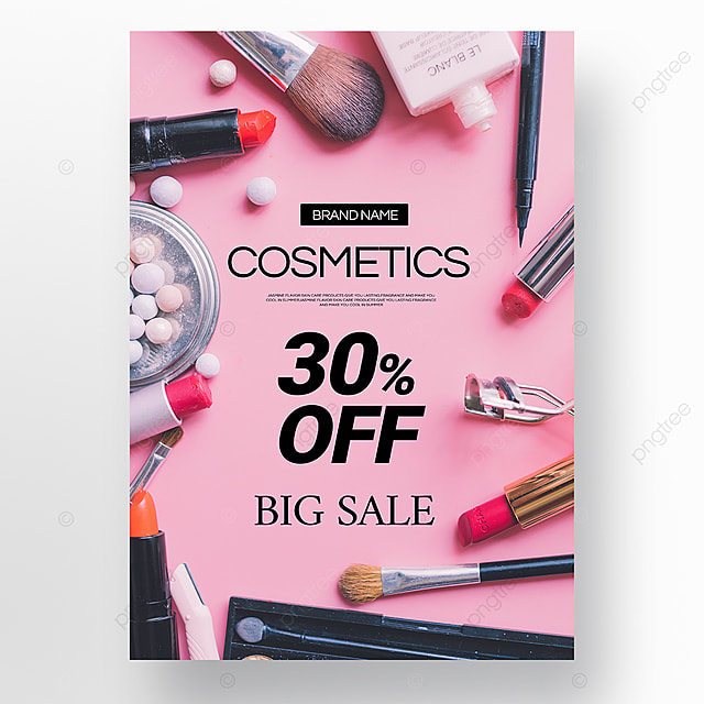 pink texture simple beauty makeup promotion poster template