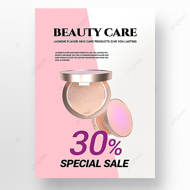 pink white simple beauty product promotion poster promotion template