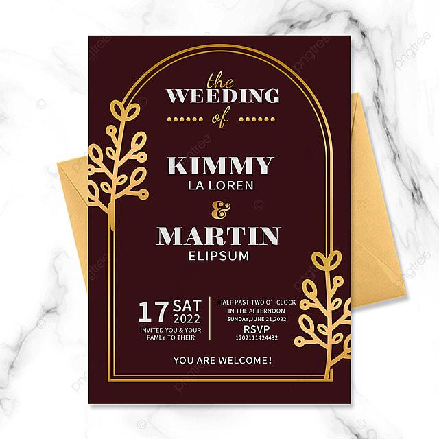 red vintage floral golden border wedding invitation