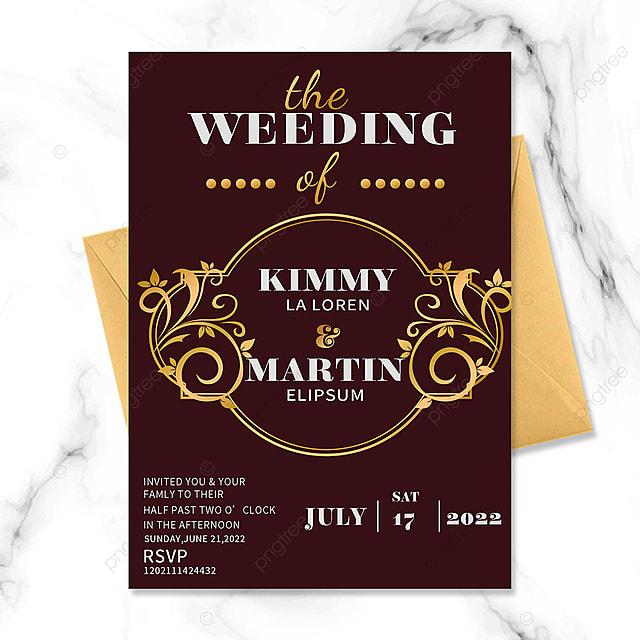 red vintage golden floral border wedding invitation