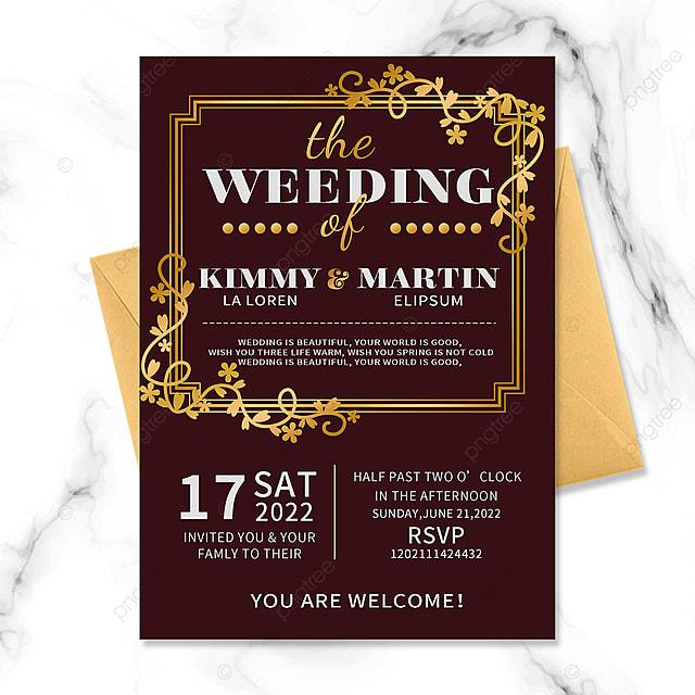 red wedding invitation golden border floral vintage
