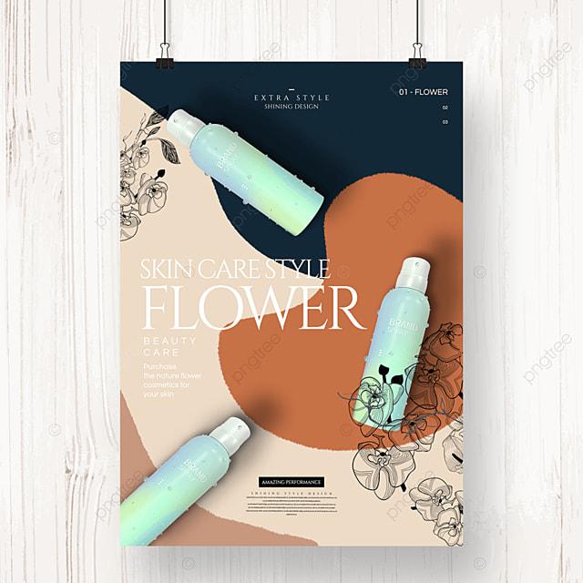 simple color cartoon line flower cosmetics poster