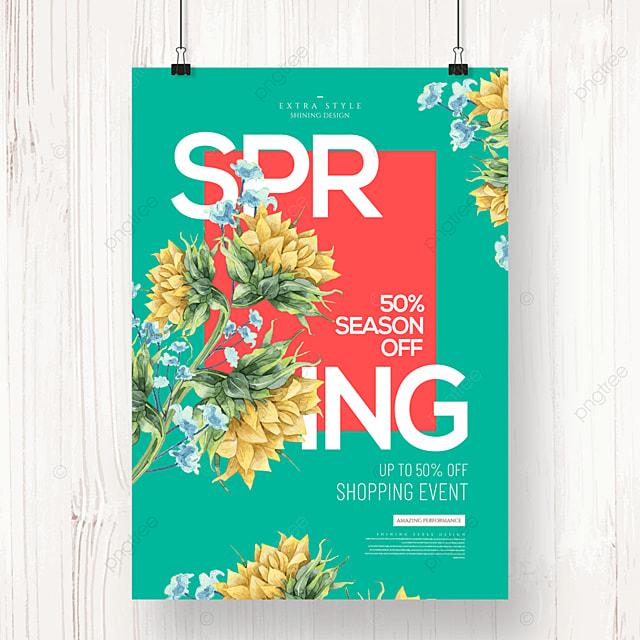 spring fashion cartoon flower promotion poster
