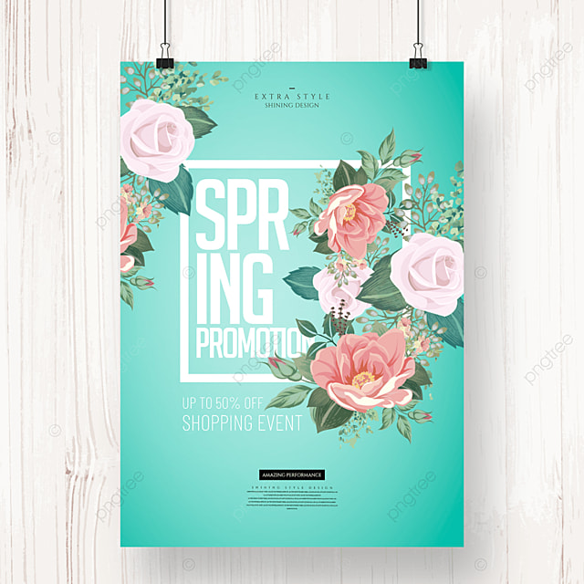 spring flower fashion simple promotion poster