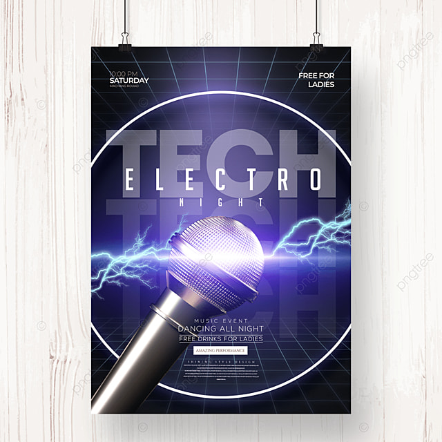 stylish cool electronic music party poster