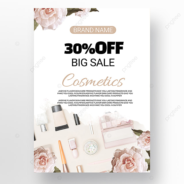 white minimalist beauty makeup promotion poster template