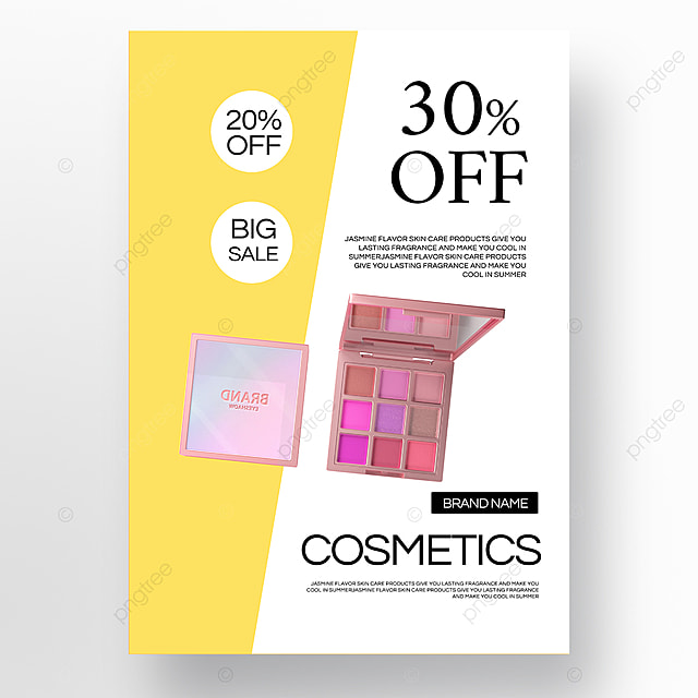 yellow texture simple beauty makeup promotion poster template