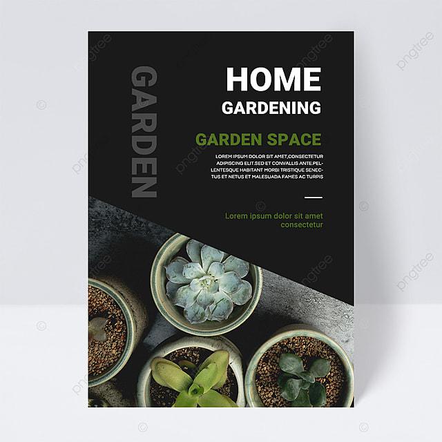 black simple texture green gardening brochure flyer