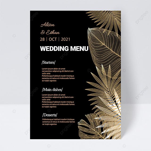 black simple texture plant wedding menu