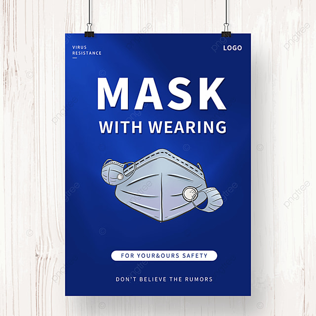 blue epidemic prevention and control mask propaganda poster