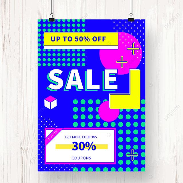 blue memphis geometric sale poster