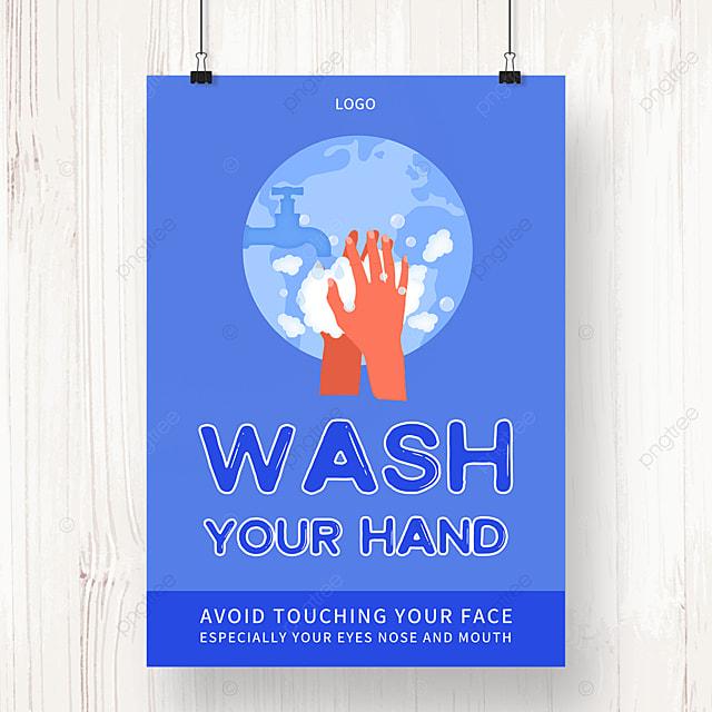 blue new crown virus epidemic prevention hand washing poster