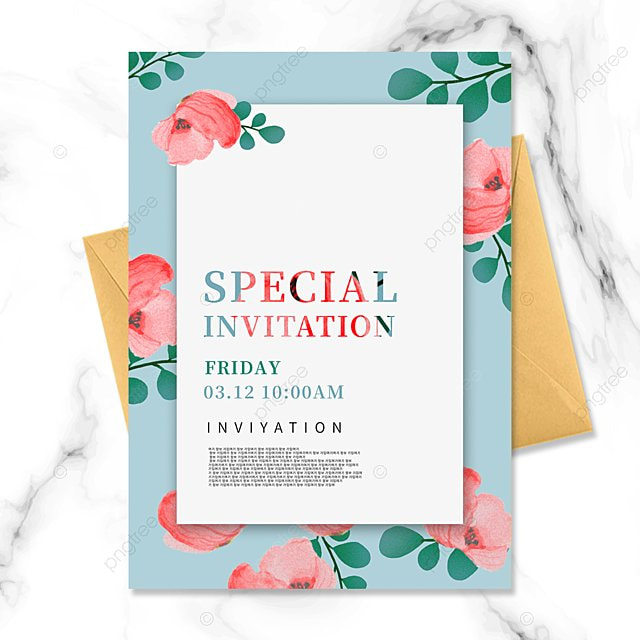 blue simple texture creative flower invitation