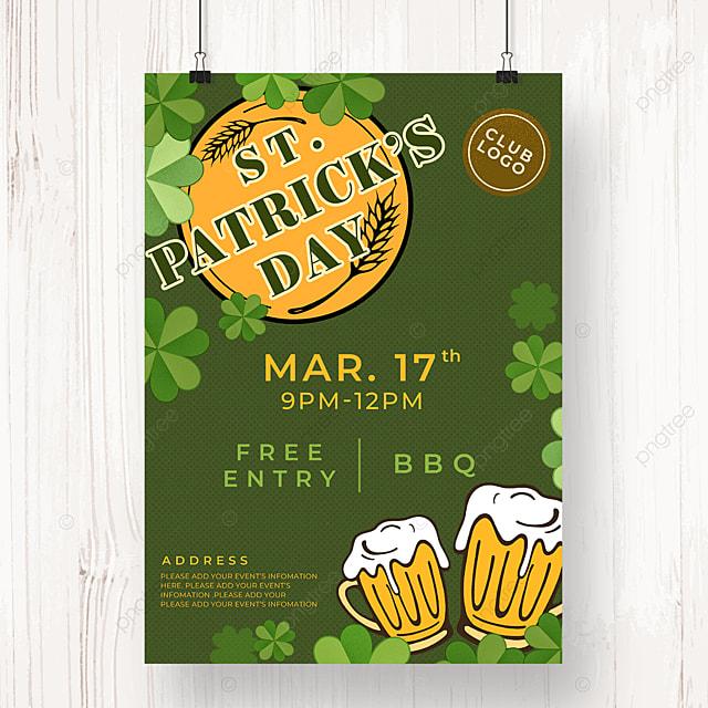 dark green st patricks day beer poster