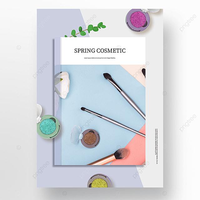 elegant blue spring cosmetics poster