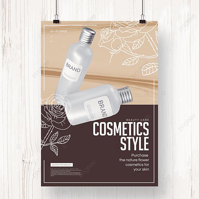 fashion minimalist line floral cosmetics poster