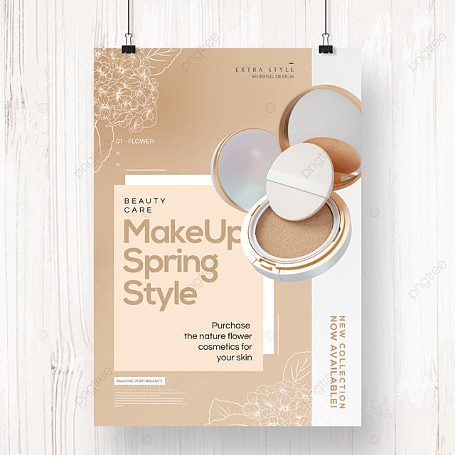 fashion simple geometric linear draft flower cosmetics poster
