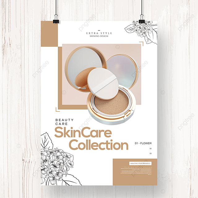 fashion simple natural geometric floral cosmetics poster