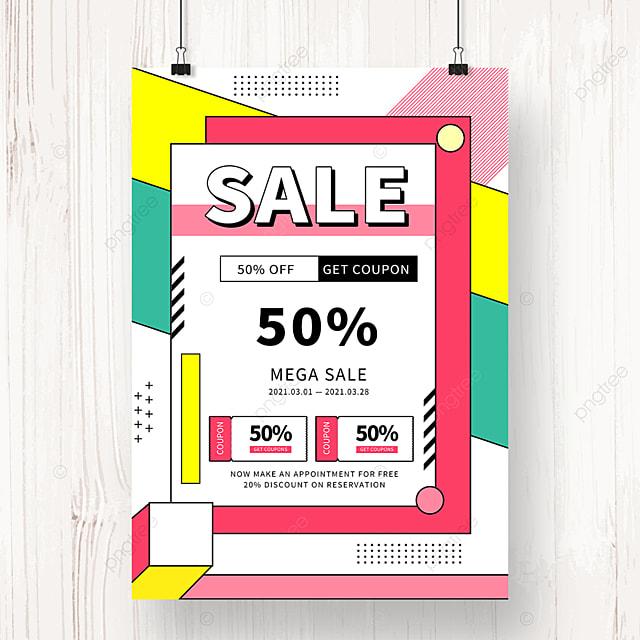 geometric memphis promotion discount poster