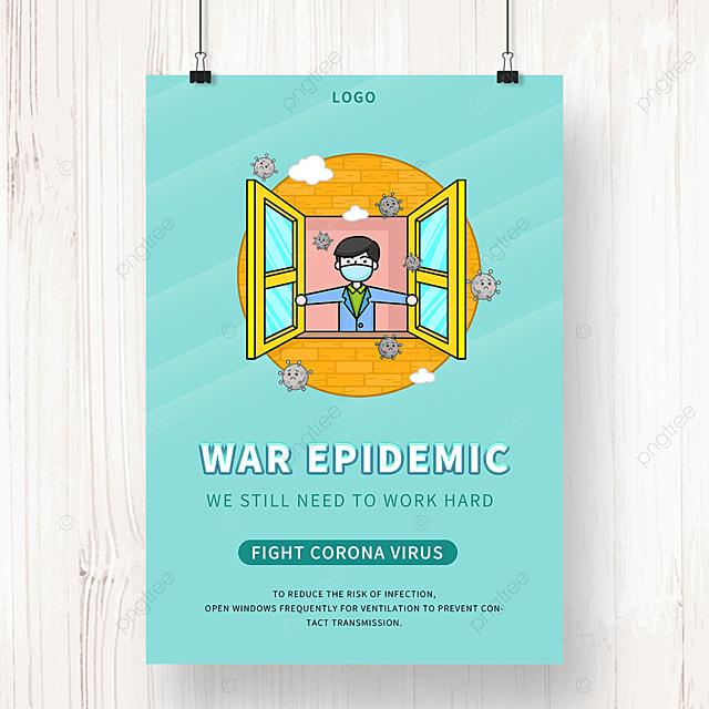 green cartoon new crown virus epidemic prevention poster