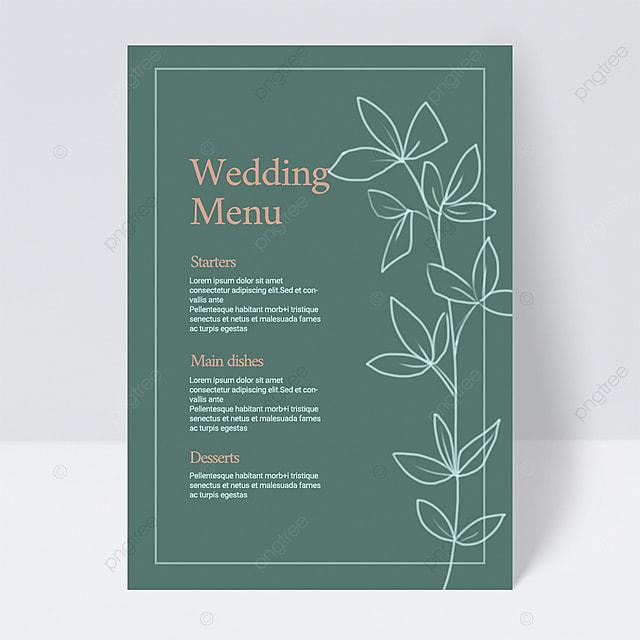 green dark simple plant wedding menu
