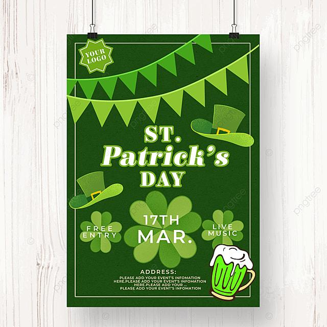green flag st patricks day beer poster