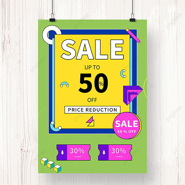 green geometric memphis promotion discount poster