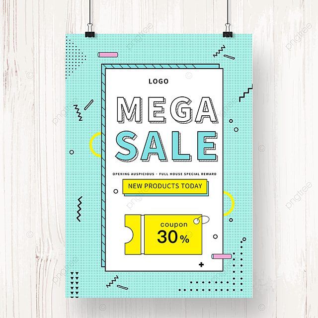 green geometric memphis sale promotion poster