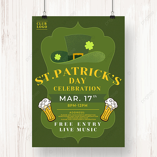 green hat saint patricks day beer poster