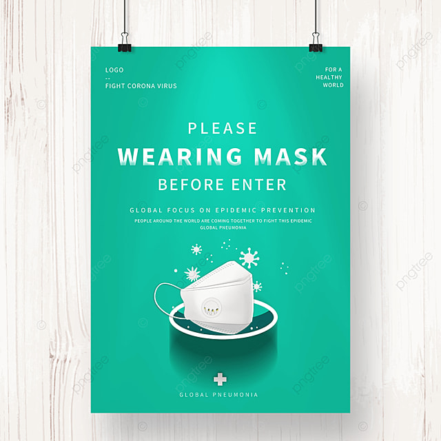 green new crown virus prevention and control mask public welfare poster