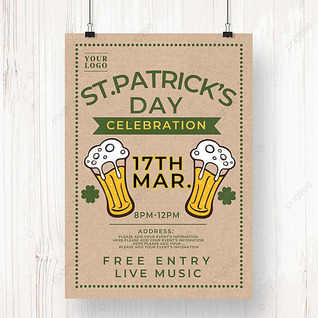 green ribbon saint patricks day beer poster