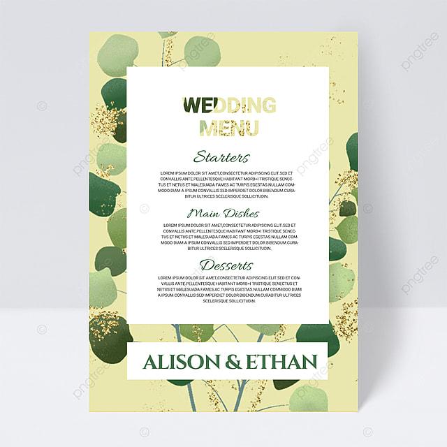 green simple plant wedding menu