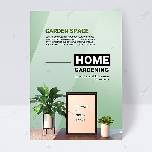 green simple texture gardening brochure flyer