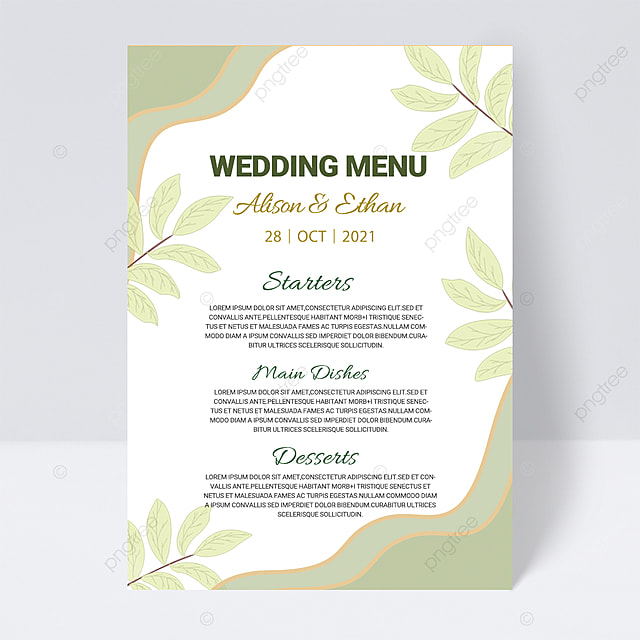 green white simple plant wedding menu