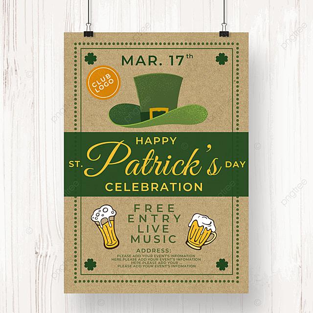 hat ribbon saint patricks day beer poster