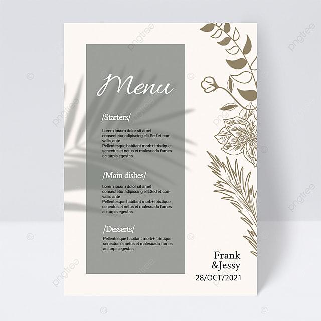 light color simple and elegant plant line wedding menu