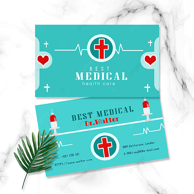 medical industry doctor and nurse double sided business card syringe